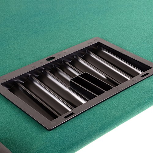 Nexos Deluxe Casino Pokertisch klappbar L 215 x B 113 x H 79 cm, Getränkehalter Armlehnen Chiptray grüne Pokerauflage Klapptisch für 10 Spieler - 4