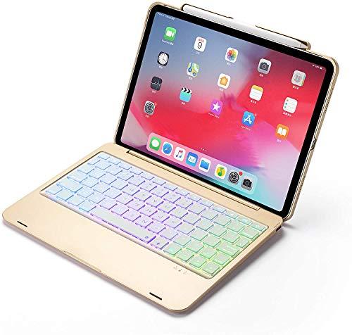 """Jennyfly Coque avec clavier pour iPad 11"""" en ABS 7 couleurs changeantes Clavier Bluetooth sans fil avec fonction veille automatique et coque de protection pour iPad 11 1ère génération 2018 Doré"""