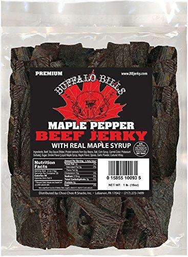 Buffalo Bills 16oz Premium Maple Pepper Beef Jerky Pieces (one pound bag in random size pieces)