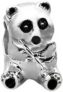 Jovana Sterling Silver Panda Bead Charm, Fit Pandora Bracelet