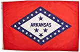 Annin Flagmakers Model 140370 Arkansas State Flag 4x6 ft. Nylon SolarGuard Nyl-Glo 100% Made in USA to Official State Design Specifications.
