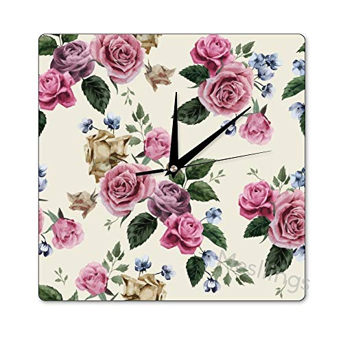 Mesllings Scale-Free Wall Clocks Pink Roses Watercolor Vintage Square