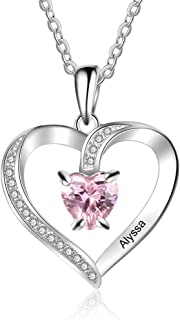 Love Heart Pendant Necklaces for Women Made with Simulated Birthstone Personalized Engagement Promise Jewelry for Her