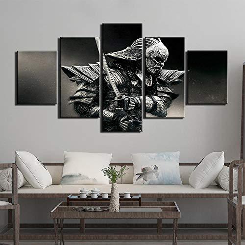 Arte De Pared Pintura Lienzo Impresión Samurai Warrior Imágenes 5 Piezas Cartel Impreso para Sala De Estar Decoración del Hogar Arte Moderno(Sin Marco)