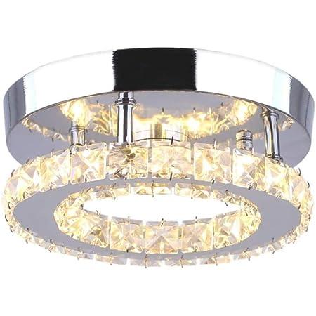 Goeco Lustre Plafonnier Cristal, Lampe de plafond LED Moderne 18W, Plafonnier Lampe LED Cristal Lumière Chaude 3000k, pour Salon Chambre Chambre 20cm