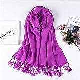 ZLININ Y-longhair - Bufandas cálidas para otoño e invierno, bufanda, chal, chal, manto, color sólido, bufanda para mujer, color caramelo, cuello cálido, violeta