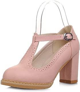 Veveca Women Mary Jane Round Toe Buckle Strap Chunky High Heel Dress Shoes T-Strap Platform Oxford Pumps