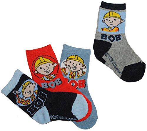 alles-meine.de GmbH 1 Paar Socke Bob der Baumeister Gr. 23 - 26 Sortiert bunt blau rot grau Socken Elasthan Strumpf