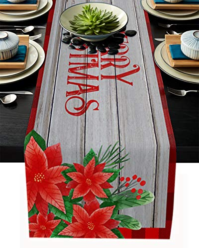Red Merry Christmas Poinsettia Flowers Linen Table Runners 13x90in, Table Cover Dresser Rustic Wood Washable Table Decor for Kitchen Party Wedding Gathering