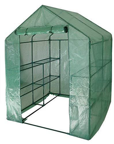 Gartenpirat Folien-Gewächshaus 143x143x195 cm Treibhaus Frühbeet mit Regalen