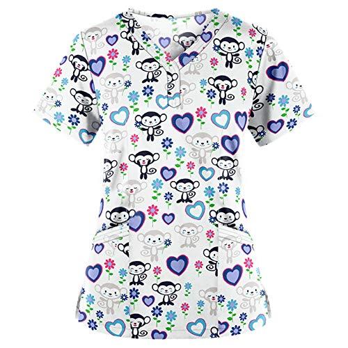 PJQQ Scrub da Infermiera,Professionale Abbigliamento da Lavoro Casacca Camice Scollo a V Unisex in Cotone - Sanitaria Medicale per Medico Infermiere con Tasca