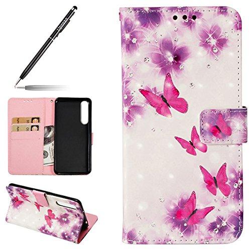 Uposao Handyhülle Glitzer Huawei P20 Pro, Huawei P20 Pro Handy Schutzhülle, Huawei P20 Pro Leder Klapphülle Lederhülle, Handyhülle Flip Wallet Brieftasche Hülle 3D Glitzer Glänzend Kristall Bling Sch