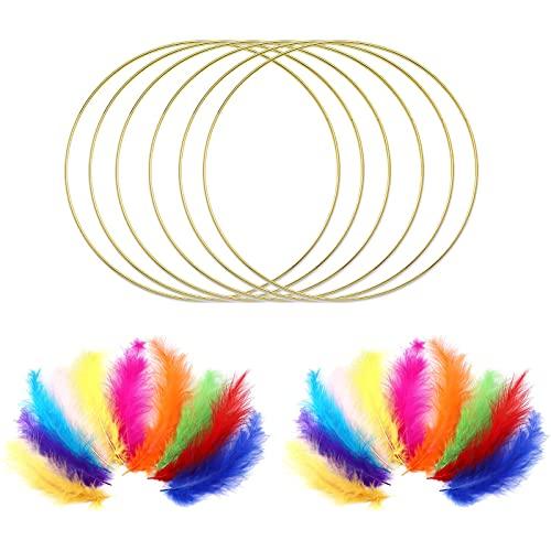 Clyhon 6 PCS 15 cm Grandes de Metal Floral de Macramé Anillos de Aro de Oro y 30 Plumas de Colores para Hacer Coronas de Boda Decoración y Bricolaje Atrapasueños para Colgar en La Pared