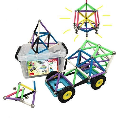 Bloques de construcción magnéticos │ 156 pzs : palos XL con imanes potentes, bolas de acero y ruedas de coche + caja de plástico de almacenamiento │ Gran creativo regalo para niños mayores de 3 años