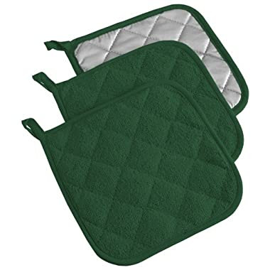 DII Cotton Terry Pot Holders, 7x7   Set of 3, Heat Resistant and Machine Washable Hot Pads for Kitchen Cooking and Baking-Dark Green