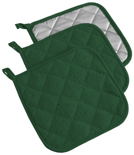 DII 6112 Quilted 100% Cotton, Potholder, Dark Green 3 Count