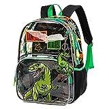 Mochila para niños Mochila Escolar Mochila de Viaje Impermeable Transparente para niños Dinosaurio Verde
