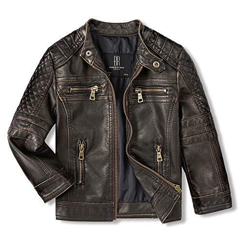 Budermmy Jackets for Boys Faux Leather Toddler Girls Motorcycle Jackets Kids Coats Waterproof and Windproof (Black, 7-8 Years)