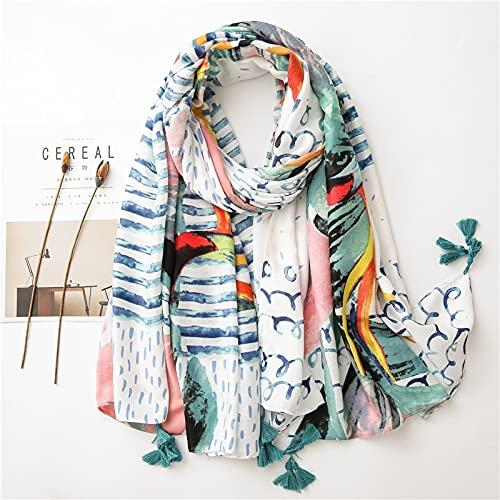 Vcnhln Moda Impresa Bufanda Larga con Flecos para Mujer, mantón de Playa, Turbante, Turbante, mantón y Bufanda Cuadrada de Abrigo
