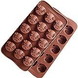 Aokshen Lot de 2 moules à Chocolat en Silicone en Forme de tête de Cochon 15 cavités pour Faire des Bonbons, Biscuits, Outils de Cuisine pour fête de Mariage, décoration de gâteau