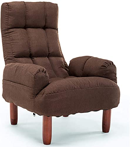 GJC Moderner Liegestuhl Verstellbarer Leinenstuhl Mit Fu cker Für Schlafzimmer Wohnzimmer Büro Lounge Empfang,braun