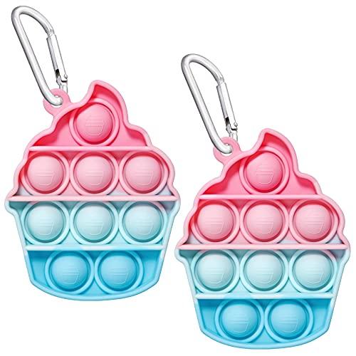 EVERMARKET Push Pop Bubbles Fidget Sensory Toy Keychains, 2 Pack Mini Ice Cream Bubble Popper Stress Reliever Silicone Relax Toys Keychain, Rainbow Color Pop Bubble Fidget Block Toys