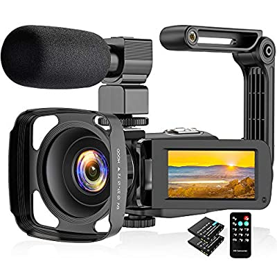 Video Camera Camcorder 2.7K, Vlogging Camera for YouTube Ultra HD 24FPS 36 MP IR Night Vision 16X Digital Zoom 3.0 Touch Screen, Video Camera with Microphone Handheld Stabilizer Lens Hood from Actitop