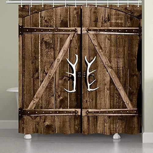 N \ A Cortina de ducha para puerta de granero para baño, puerta de cabina de garaje con asas de astas, diseño vintage de tela de temática rural con ganchos de cortina de ducha