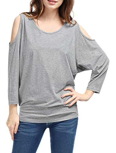 Allegra K Women Batwing Sleeve Cut Out Shoulder Loose Tops Casual T Shirts, Gray, Small / US 6