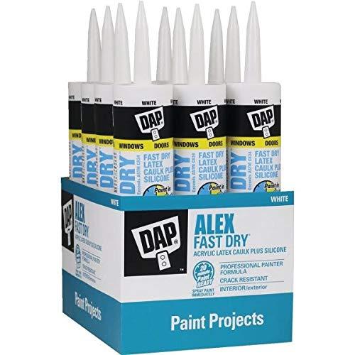 Dap Inc 18425 10.1 oz. Alex Fast Dry Acrylic Latex Caulk Plus Silicone - White - 12 Pack