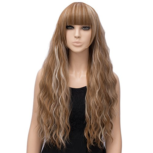 Netgo Women's Brown Mixed Blonde Wig Long Fluffy Curly Wavy Hair Wigs for Girl Synthetic Party Wigs