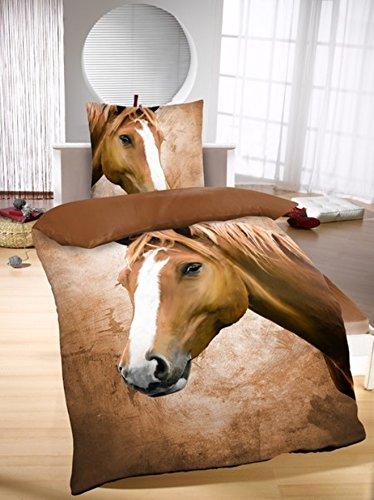 Bettwäsche mit Pferd 100% Baumwolle 135 x 200 cm 80 x 80 cm