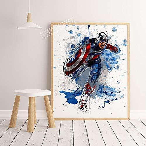 SDFSD Neue Aquarell Ameriacan Superhelden Film Cartoon Coole Poster Bilder für Kinderzimmer Home Decoration Leinwand Malerei 60 * 80cm
