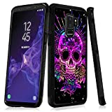 Case for Samsung Galaxy S9 Plus Purple Sugar Skull Case Hard PC Black Cover Case Waterproof Shockproof Durable Protective Case