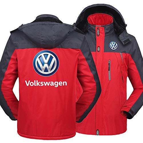 NISHUSHANW Hoodie Windundurchlässig Warm Draussen Jacke Vol-Ks-Wag-En Drucken Herren Beiläufig Berg Ski Windbreaker Oben Mantel/Rot/XL