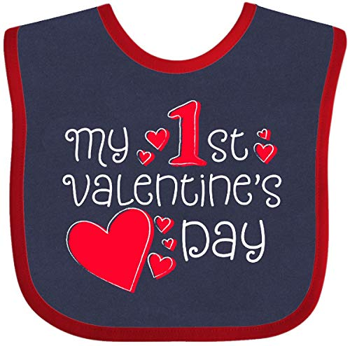 Inktastic My First Valentines Day Red Hearts Baby Bib Navy and Red