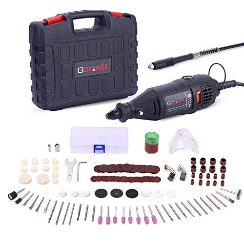 GOXAWEE Rotary Tool Kit with MultiPro Keyless Chuck and Flex Shaft - 140pcs Accessories Variable Speed Electric Drill Set for Crafting Projects and DIY Creations (Renewed)