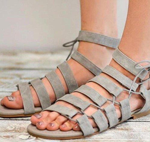 Bluelover Mujer Sandalias Lado Tie Empalme Gladiador Romano Conjunto Pie Casual Playa Plana - Gris - 40