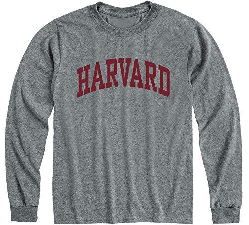 Ivysport Harvard University Crimson Long Sleeve T-Shirt, Classic, Charcoal Grey, X-Large