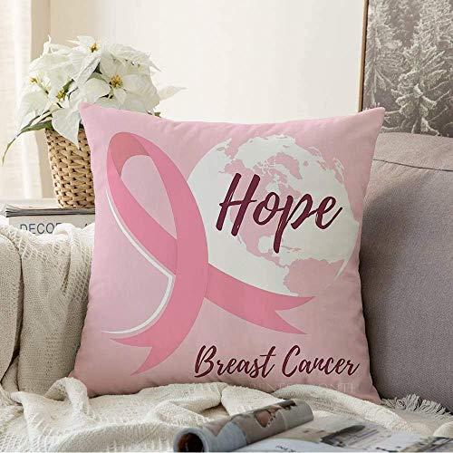 Mengghy Decoración para el hogar, fundas de almohada, funda de almohada, cubierta de almohada, bandera abstracta, cartel blanco de folleto de pecho con diseño de lazo rosa con texturas de lazo