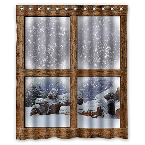 KXMDXA Winter Outdoors View Firewood Pile Wooden Window Winter Christmas Snowy Lake Mountain Shower Curtain 60 x 72 Inch