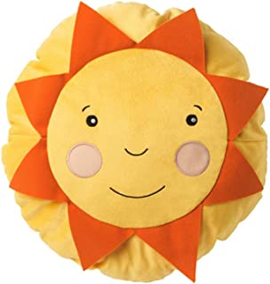 Soligt Cushion Pillow Yellow Orange Smiling Sunshine Accent Kids Children Toy Throw-Diameter: 16 inch