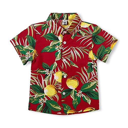 Aeslech – Camisa para niños hawaiana con estampado de piña para fiestas pequeñas y grandes, B rojo., 8-9 Años