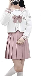 桜蘭 セーラー服 長袖 半袖 虹色 本格制服 前開き コスプレ衣装 4点セット 蝶結び付き 靴下付き (長袖セット, M)