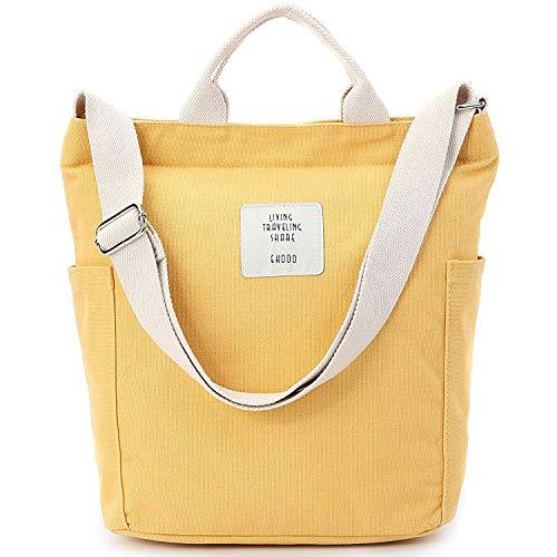 Yidarton Damen Umhängetaschen groß Tasche Casual Handtasche Canvas Chic Damen Schultertasche Henkeltasche für Schule Shopping Arbeit Einkauf (Gelb)