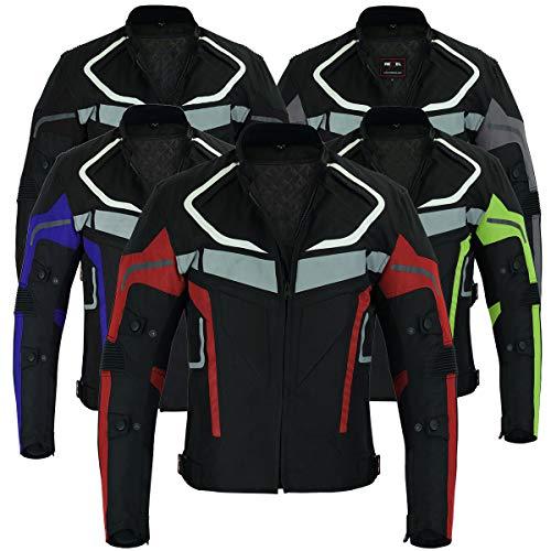 RXL Chaqueta de moto para hombre Impermeable Chaqueta de motociclista Chaqueta de piloto Tela de cordura blindada aprobada por CE (Rojo, 4XL)