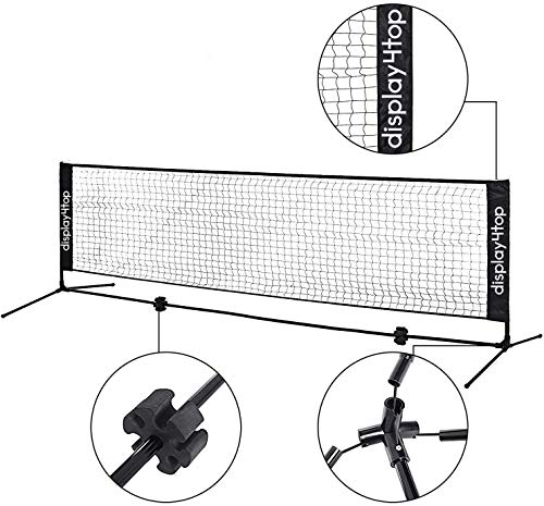 Display4top Adjustable Foldable Portable Badminton Net Set - Net for Tennis, Pickleball, Kids Volleyball - Easy Setup Nylon Sports Net with Poles - For Indoor or Outdoor Court, Beach, Driveway (5m)