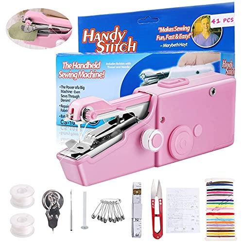 41 mini máquina de coser de mano, máquina de coser portátil, ganador de prueba para principiantes, niños [máquina manual manual] Pequeñas máquinas de coser eléctricas para textiles ropa cortin
