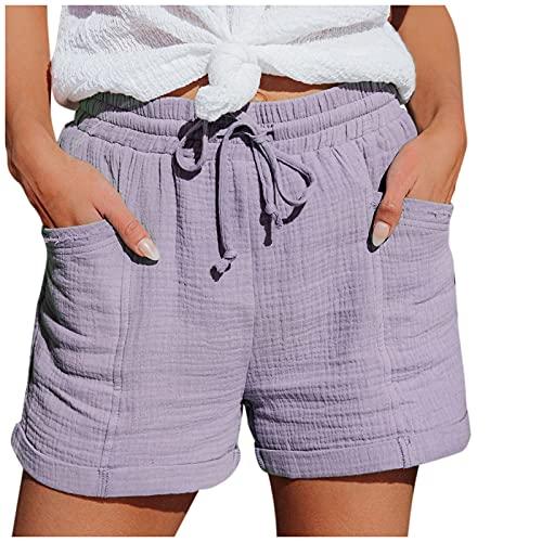 Women Summer Shorts High Waist Elastic Waist Drawstring Short Pants Casual Cotton Linen Workout Loose Shorts Purple