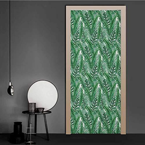 Türaufkleber, Aquarell-Kunstwerk von Palmenblättern, frischer Dschungel, Regenwald, Pflanzen, komplette Türabdeckung, Kühlschrank-Aufkleber, Waldgrün / Weiß